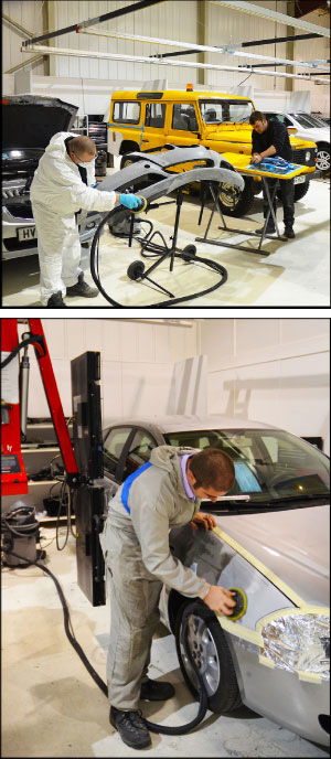 TO EACH HIS OWN: Each technician at Bodyshop Express has a fully-equipped bay below a suspended trolley system that supports inverter spot welders and Symach Flydry machines. The Flydry, bottom, allows techs to dry filler and rolled-on primer in minutes. Photos courtesy Jon Parker.