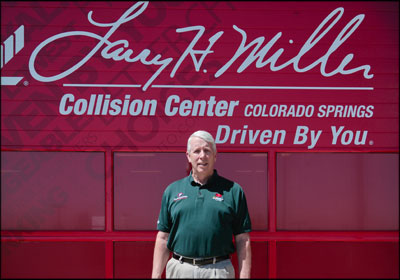 ONE AND ONLY: Ken Knoche, above, is the manager at Larry H. Miller Collision Center, which will be the only Toyota-certified shop in Colorado Springs. The shop was designed to meet Toyota requirements while maximizing customer experience. Photos by Denise Chambers