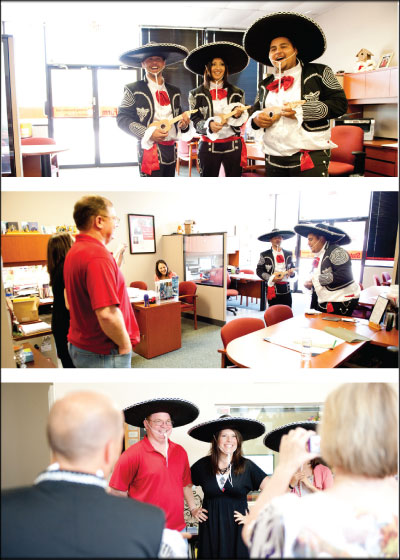 A MEMORABLE MEETING: Frank's Collision Repair owner Frank McClosky (top left), customer service representative Crystal Ortiz and parts manager Andrew Casas performed as a mariachi band at State Farm agent Randy Casey's office on Cinco de Mayo. Photo by Brian Harrison