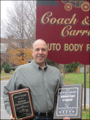 COMMUNITY BRANDING Jay Urato, owner of Windham Coach and Carriage, says giving back to his community has helped distinguish his shop from others. Photo courtesy Jay Urato