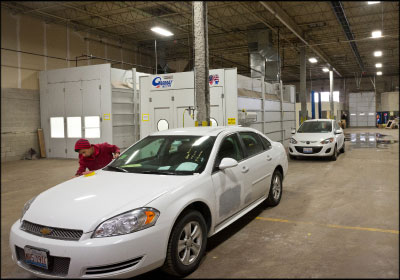 TAPPING INTO POTENTIAL: Maaco turned a 20,000-square-foot Hertz warehouse into a collision repair facility near the Chicago O'Hare International Airport.