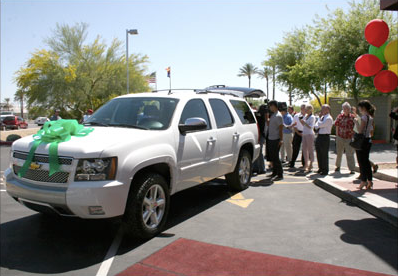 The 2007 Chevy Tahoe was donated by Allstate Insurance and refurbished by Caliber Collision's North Scottsdale location. Photo courtesy Caliber Collision