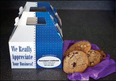STAYING TOP-OF-MIND: Pat Weber makes in-person visits to dealerships, insurance companies and mechanical shops in his area every two weeks, armed with cookies in branded boxes. Photo by Crystal Allen