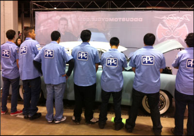 PPG Automotive Refinish is one of seven companies that sponsored the technician uniforms.