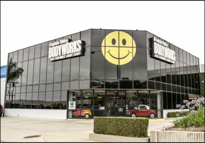 "HUGE FOOTPRINT: Fountain Valley Bodyworks operates out of this 75,000-square-foot facility. It is adorned with a 20-foot-wide smiley face that ""represents all our happy customers,"" Michael March says. Photos by Carly Street"