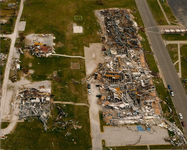 Franklin Technology Center after being hit by an F5 tornado.