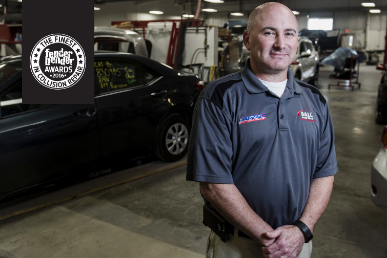 ON THE BALL: After coming on as manager five years ago, Phil Gillingham has helped turn Ball Body Shop into a thriving, evolving business on the forefront of the repair industry. Photography by Lauren Justice.