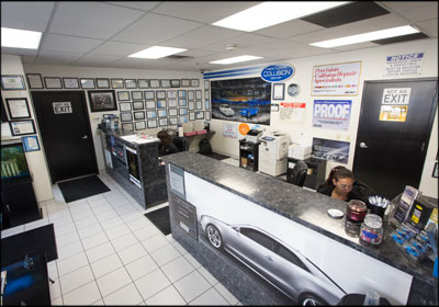 MODERN LOOK: The front office at New Look Collision Center's Henderson, Nev., facility.