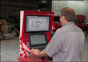 EFFICIENT MOBILITY: Tim Steiner uses his Goliath G1A Powered Mobile Workstation for all his estimating duties in his shop. With the dual-monitor setup, and a strong Internet connection, Steiner can work from anywhere on his property. Photo by Becky Shank