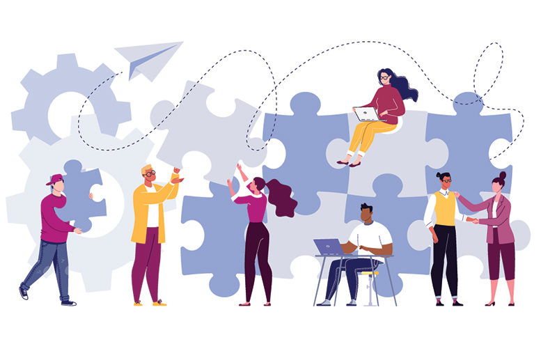Illustrated people working together to put assemble a puzzle.