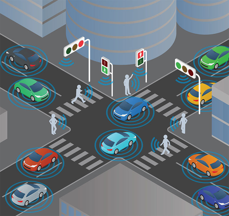 ADAS-equipped cars in an intersection