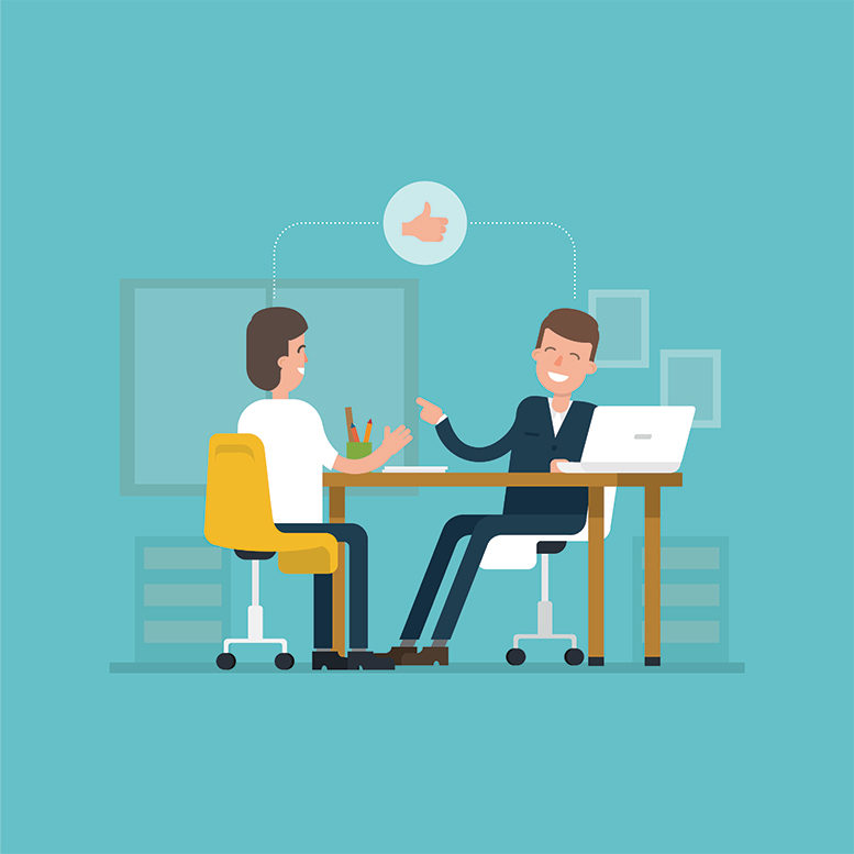 One person interviewing another for a job